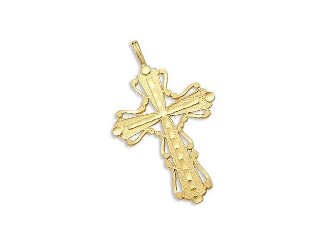 Fashion Cross Pendant 14k Yellow Gold Religious Charm 1.00 inch