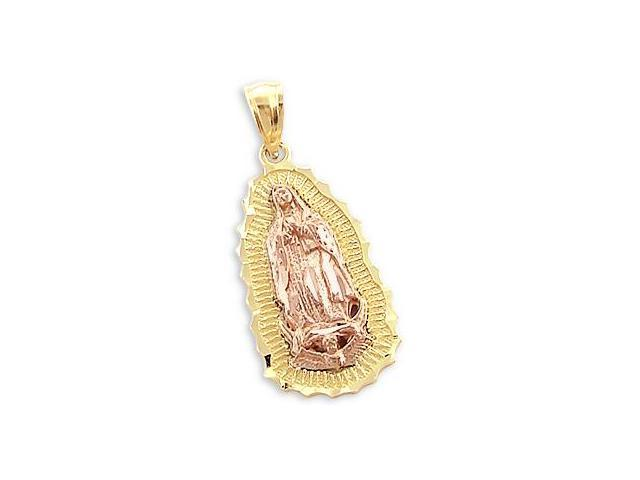 Virgin Mary Charm Pendant 14k Yellow and Rose Gold