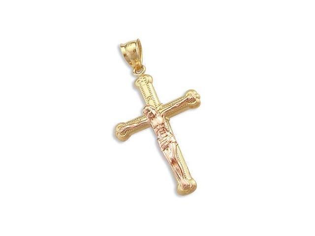 Crucifix Cross Pendant 14k Rose Yellow Gold Jesus Charm 1.25 inch