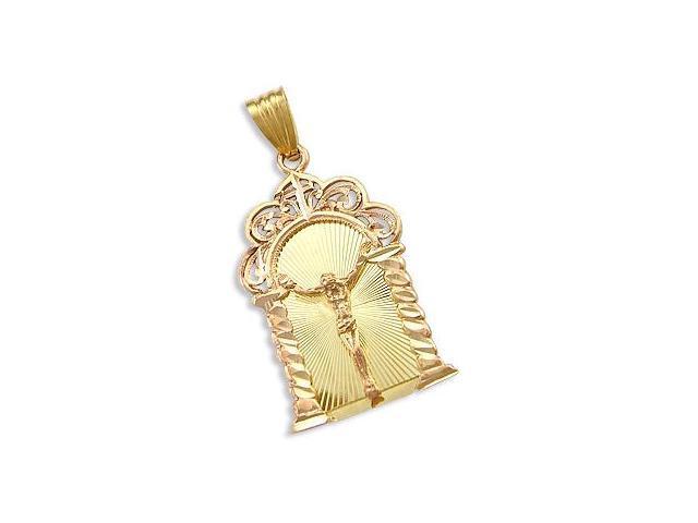 Cross Crucifix Pendant 14k Rose Yellow Gold Fashion Plate Charm 1.75