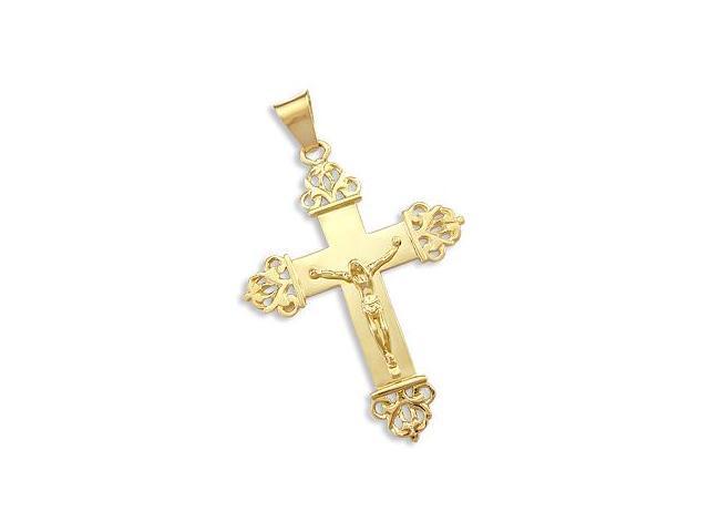Cross Crucifix Pendant 14k Yellow Gold Charm Huge Large 2.50 inch