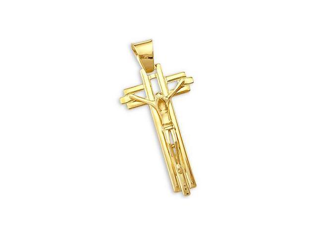 Crucifix Cross Pendant 14k Yellow Gold Charm Large 2.00 inch