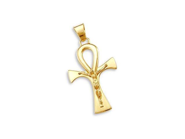 Cross Pendant 14k Yellow Gold Crucifix Charm Big