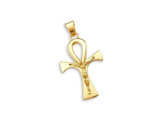 Cross Pendant 14k Yellow Gold Crucifix Charm Big