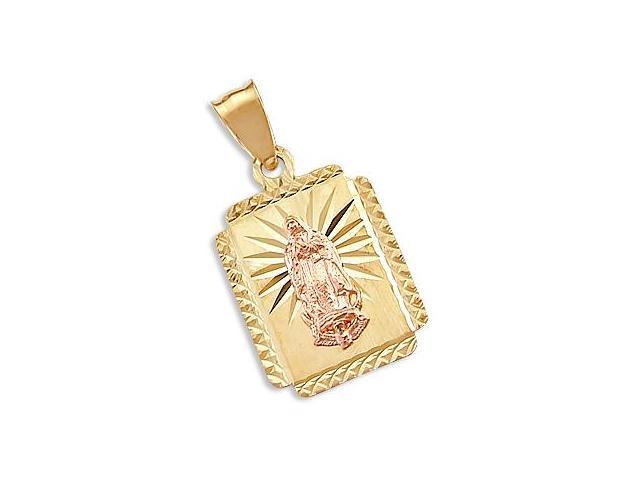 Virgin Mary Plate Pendant 14k Yellow and Rose Gold Charm