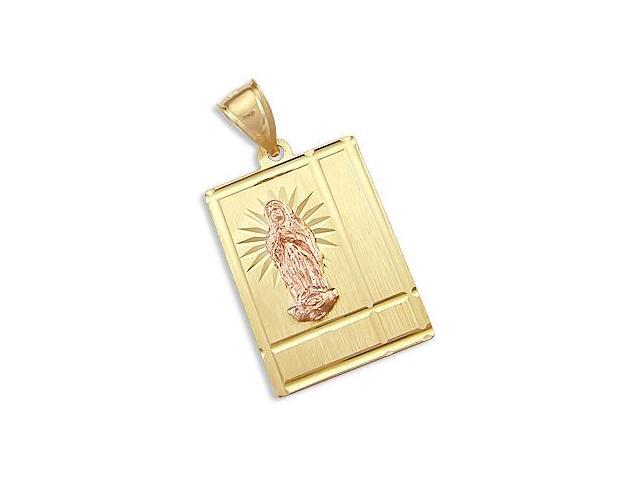 Virgin Mary Plate Pendant 14k Yellow and Rose Gold Solid Charm
