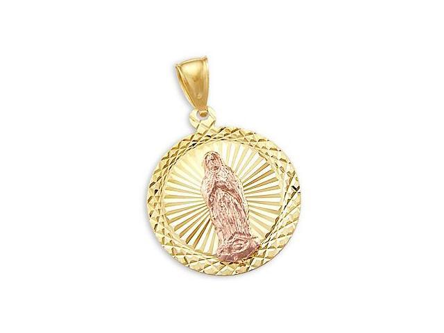 Virgin Mary Coin Pendant 14k Yellow and Rose Gold Charm