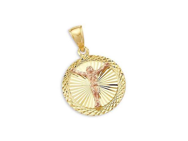 Religious Pendant 14k Rose Yellow Gold Jesus Crucifix Charm