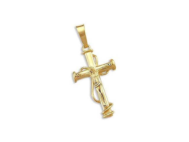 Unique Cross Crucifix Pendant 14k Yellow Gold Charm