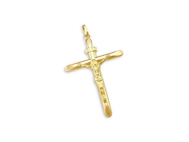 Crucifix Cross Pendant 14k Yellow Gold Classic Jesus Charm 2.00 inch
