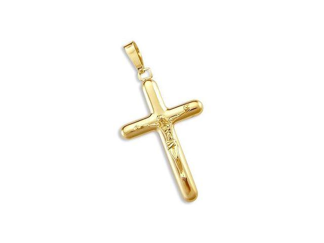 Cross Crucifix Pendant 14k Yellow Gold Classic Jesus Charm 2.00 inch