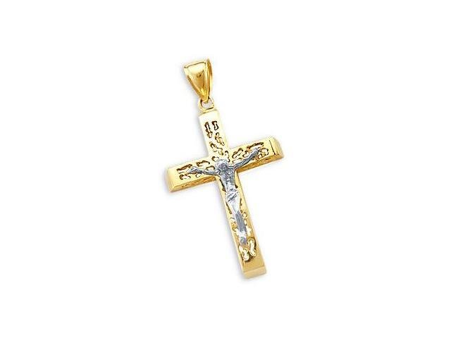 Cross Crucifix Pendant 14k White Yellow Gold Charm Fashion 2.00 inch