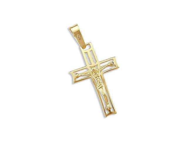 Cross Crucifix Pendant 14k Yellow Gold Jesus Charm