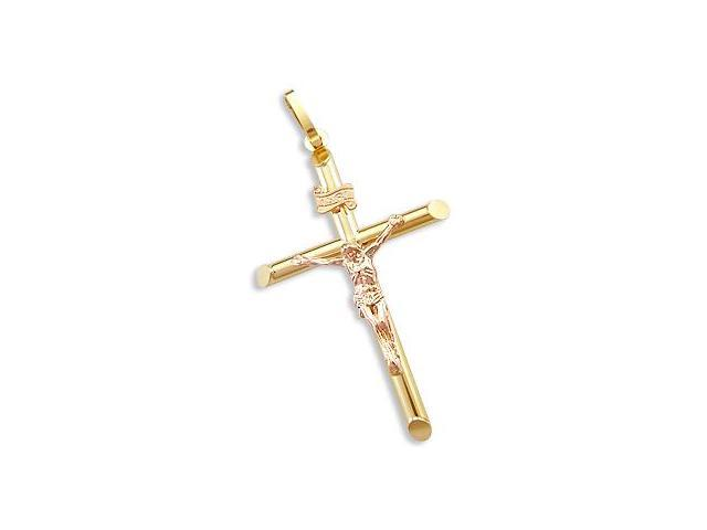 Tube Cross Crucifix Pendant Charm 14k Yellow n Rose Gold 2 inch