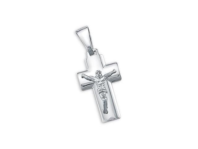 Cross Pendant 14k White Gold Jesus Crucifix Charm