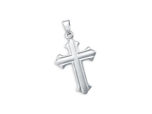 Cross Pendant 14k White Gold Crucifix Charm Unique