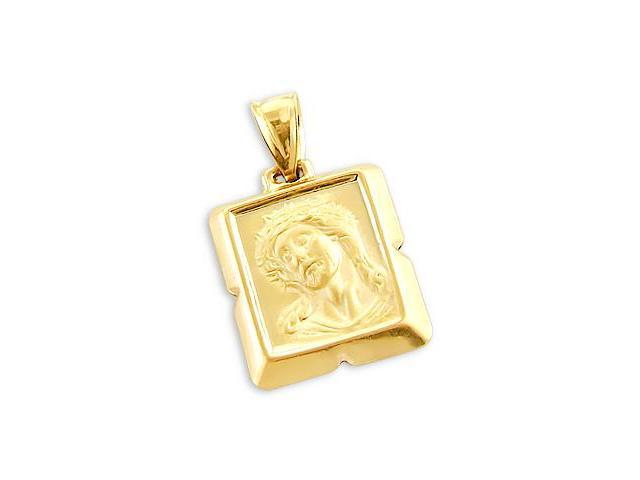 Jesus Face Pendant 14k Yellow Gold Crucifix Charm