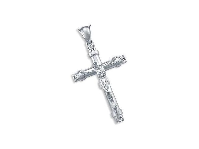 Cross Pendant 14k White Gold Large Crucifix Charm