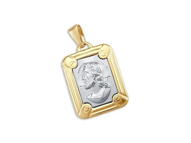 Jesus Face Plate Pendant 14k Yellow n White Gold Charm