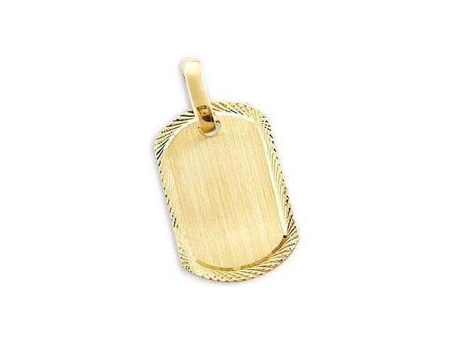 Dog Tag Pendant 14k Yellow Gold Name Plate Charm 1.25 inch