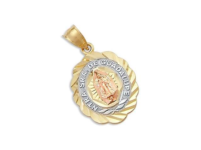 14k Yellow Rose White Gold Virgin Mary Guadalupe Charm Pendant