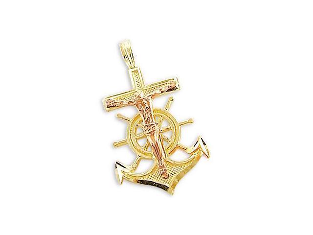 Jesus Cross Anchor Pendant 14k Rose Yellow Gold Charm 1.00 inch