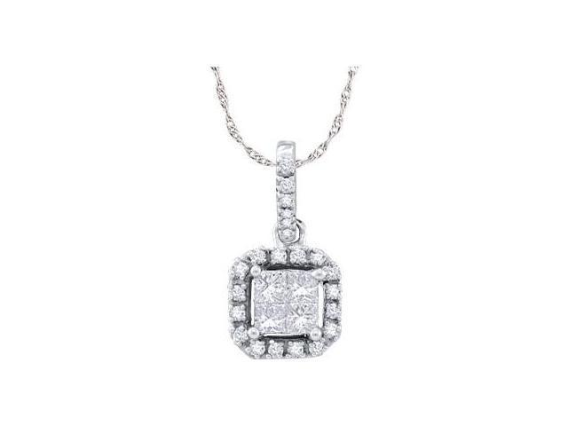 Square Princess Diamond Pendant 14k White Gold (0.24 Carat)
