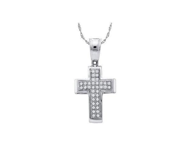 Diamond Cross Pendant Solid 10k White Gold Charm (0.10 Carat)