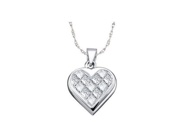 Princess Diamond Heart Pendant 14k White Gold (0.25 Carat)