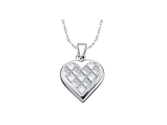 Princess Diamond Heart Pendant 14k White Gold (0.25 Carat)