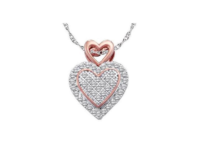 Diamond Heart Pendant Charm Rose 10k White Gold (0.15 Carat)