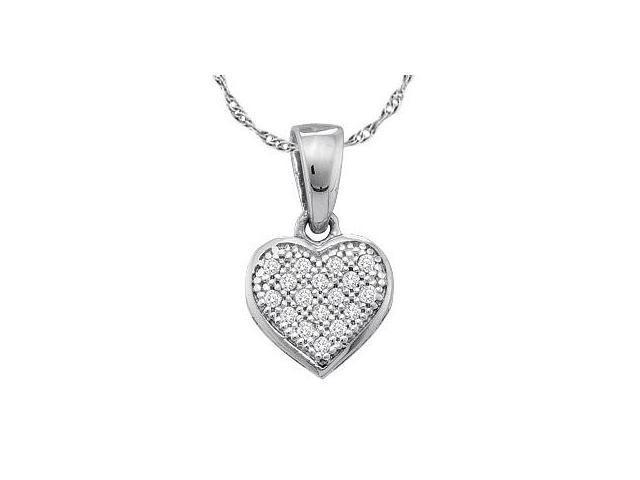 Diamond Heart Pendant 10k White Gold Love (0.05 Carat)