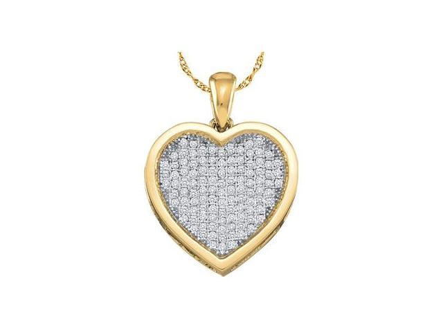 Heart Diamond Pendant 10k Yellow Gold Charm Natural (0.10 Carat)