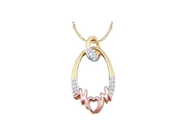 Circle Diamond Pendant MOM Mother Rose Yellow Gold