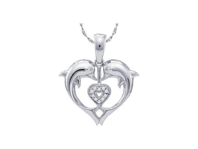 Diamond Dolphin Heart Pendant Solid White Gold Charm