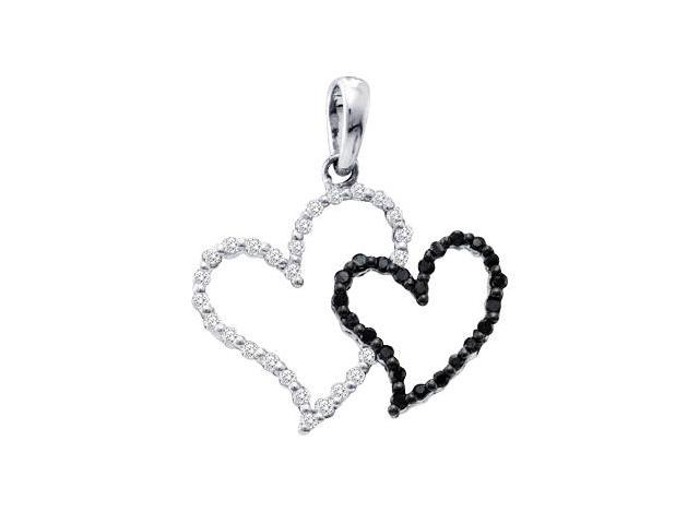 Black Diamond Pendant Heart Charm 10k White Gold Lady (0.16 Carat)