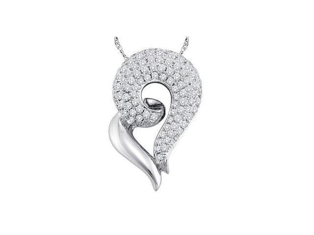 Fashion Heart Diamond Pendant 14k White Gold Charm (0.74 Carat)