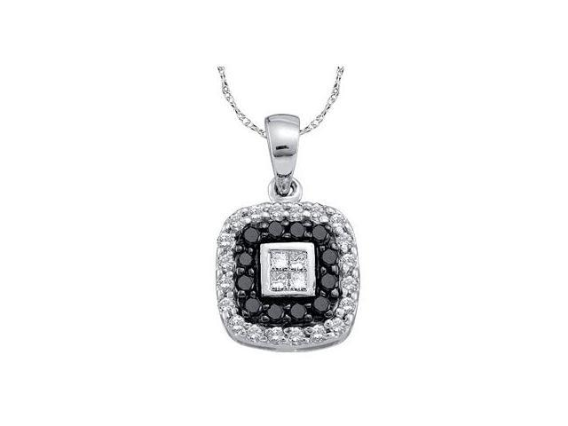 Black Diamond Square Fashion Pendant 14k White Gold Charm (1/2 Carat)