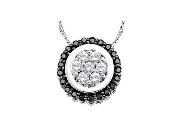 Circle Black Diamond Pendant 10k White Gold Charm (0.33 Carat)