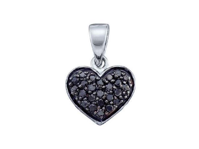 Black Diamond Heart Pendant 10k White Gold Womens (0.24 Carat)