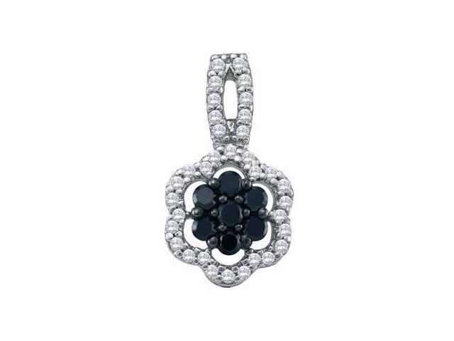 Black Diamond Pendant 10k White Gold Womens Flower (0.33 Carat)