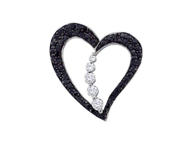 Black Diamond Journey Heart Pendant 10k White Gold Womens (0.50 Carat)