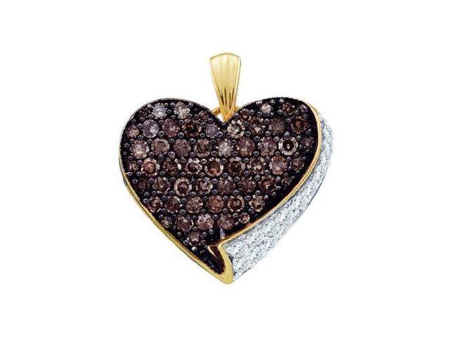 Chocolate Brown Diamond Heart Pendant 10k Yellow Gold Charm (0.85 CT)