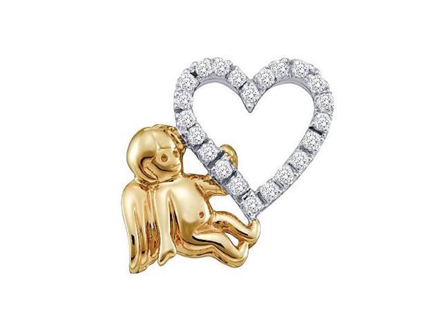 Heart Angel Diamond Pendant 14k White Yellow Gold Charm (0.16 Carat)