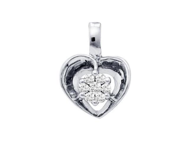 Cluster Diamond Heart Pendant 14k White Gold Charm (0.08 Carat)