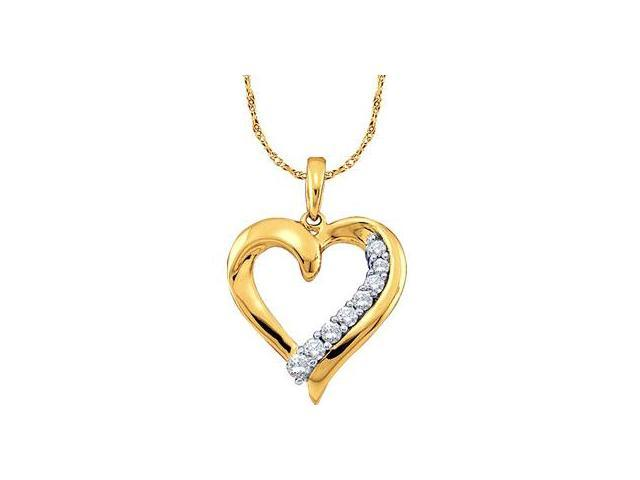 Heart Journey Diamond Pendant 10k Yellow Gold Charm (1/4 Carat)