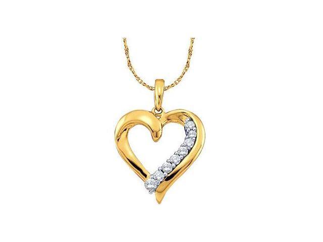 Heart Journey Diamond Pendant 10k Yellow Gold Charm (1/4 Carat)