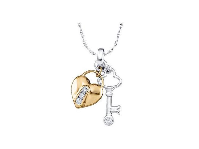 Heart Lock and Key Diamond Pendant 10k Yellow White Gold Charm