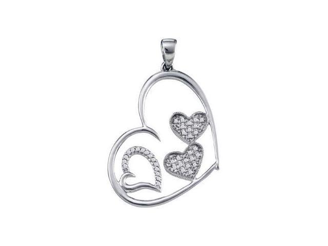 Diamond Heart Pendant 10k White Gold Womens Genuine (0.12 Carat)