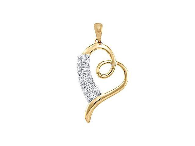 Diamond Heart Pendant 10k Yellow Gold Womens Genuine (0.25 Carat)